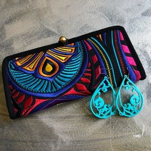 Ibiza Tribal Boho Chic Graphic Embroidered Wallet